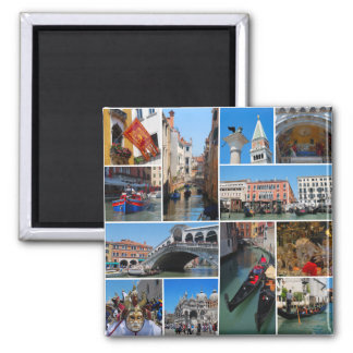 Venice collage square magnet