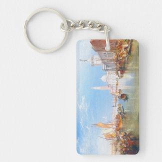 Venice, Dogano and Santa Maria della Salute art Double-Sided Rectangular Acrylic Key Ring