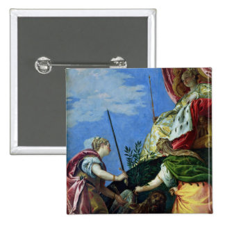 Venice enthroned between Justice and Peace 15 Cm Square Badge