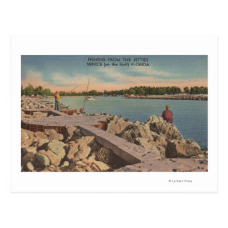 Venice, Florida - Fishing Scene on the Jetties Postcard
