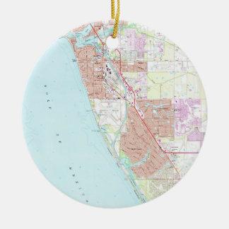 Venice Florida Map (1973) Ceramic Ornament