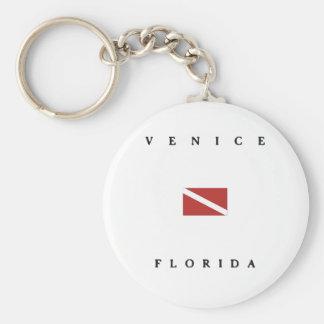 Venice Florida Scuba Dive Flag Keychain