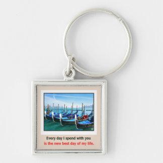 Venice Gandola with Love Quote Silver-Colored Square Key Ring