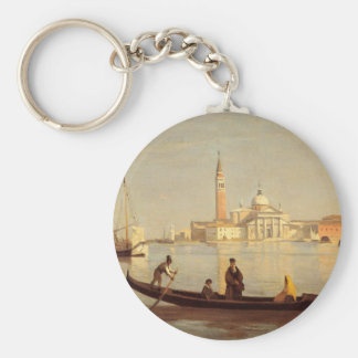 Venice Gondola on Grand Canal by Camille Corot Basic Round Button Key Ring