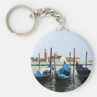 Venice gondolas basic round button key ring