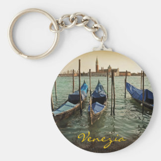 Venice gondolas basic round button key ring