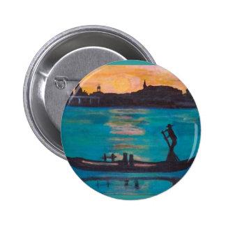 Venice gondoliers 6 cm round badge
