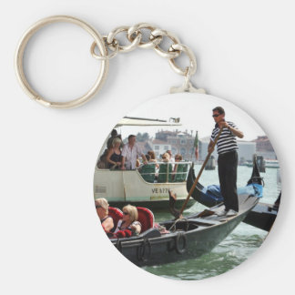 VENICE GONDOLIERS ON THE GRAND CANAL BASIC ROUND BUTTON KEY RING