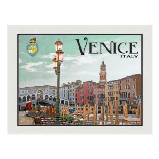 Venice - Grand Canal and Rialto Bridge Postcard