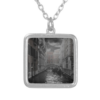Venice in Black and White Silver Plated Necklace