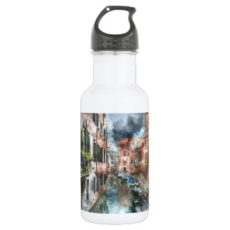 Venice Italy Boats in the Canal 532 Ml Water Bottle