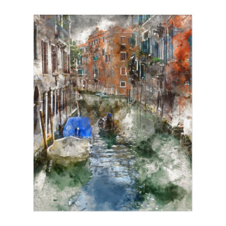 Venice Italy Boats in the Canal Acrylic Print