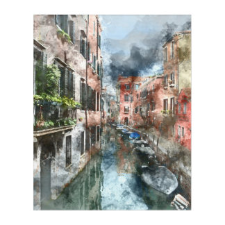 Venice Italy Boats in the Canal Acrylic Wall Art