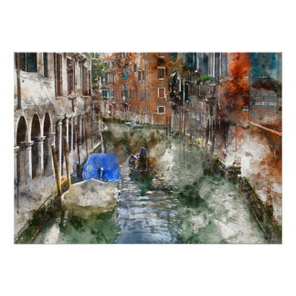 Venice Italy Boats in the Canal Poster
