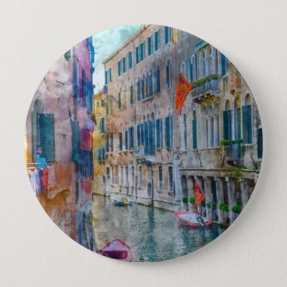 Venice Italy Boats in the Grand Canal 10 Cm Round Badge