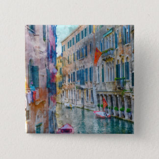 Venice Italy Boats in the Grand Canal 15 Cm Square Badge