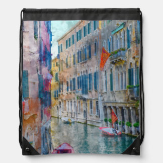 Venice Italy Boats in the Grand Canal Drawstring Bag