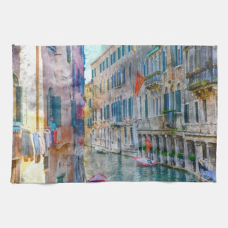 Venice Italy Boats in the Grand Canal Tea Towel