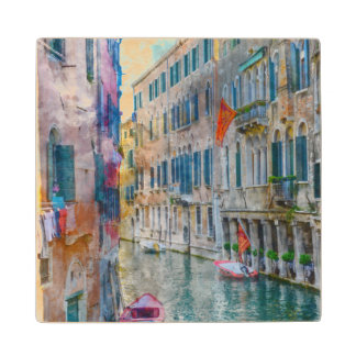 Venice Italy Boats in the Grand Canal Wood Coaster