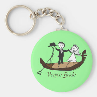Venice Italy Bride Basic Round Button Key Ring