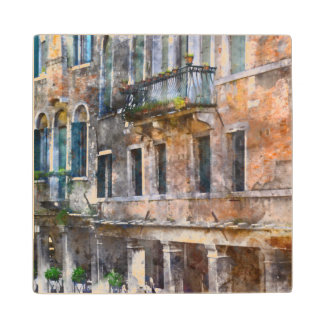 Venice Italy Buildings Wood Coaster