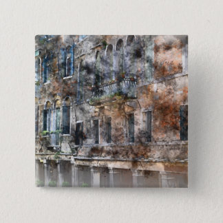 Venice Italy Colorful Buildings 15 Cm Square Badge