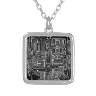 Venice italy gondola boat canal silver plated necklace