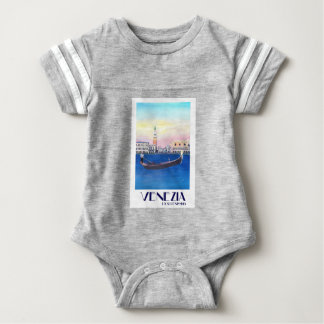 Venice Italy Gondola on Grand Canal with San Marco Baby Bodysuit
