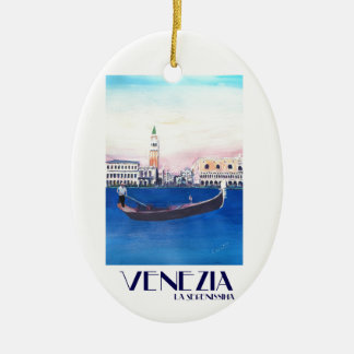 Venice Italy Gondola on Grand Canal with San Marco Ceramic Ornament