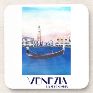 Venice Italy Gondola on Grand Canal with San Marco Coaster