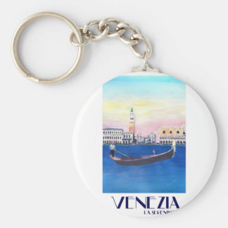 Venice Italy Gondola on Grand Canal with San Marco Key Ring