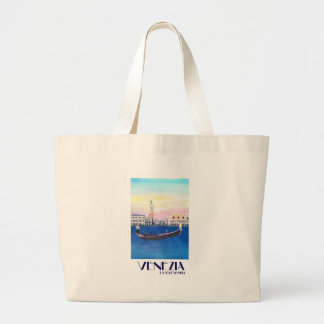 Venice Italy Gondola on Grand Canal with San Marco Large Tote Bag
