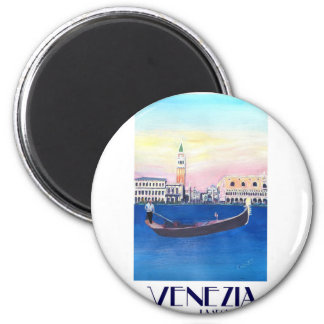 Venice Italy Gondola on Grand Canal with San Marco Magnet