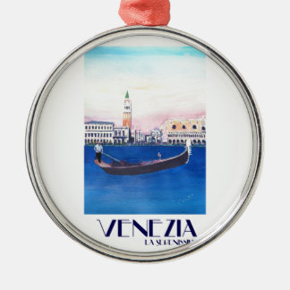 Venice Italy Gondola on Grand Canal with San Marco Metal Ornament