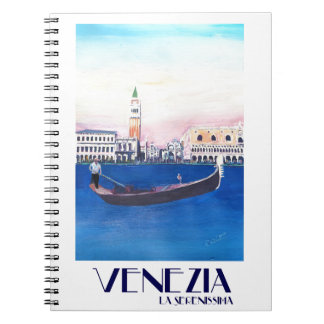 Venice Italy Gondola on Grand Canal with San Marco Notebook