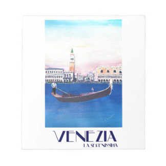 Venice Italy Gondola on Grand Canal with San Marco Notepad