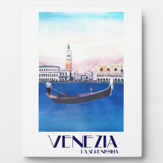 Venice Italy Gondola on Grand Canal with San Marco Plaque