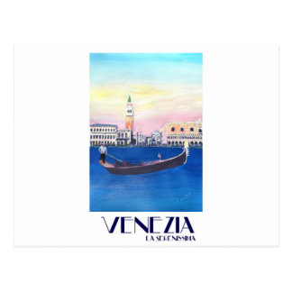 Venice Italy Gondola on Grand Canal with San Marco Postcard