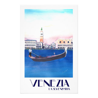 Venice Italy Gondola on Grand Canal with San Marco Stationery Paper