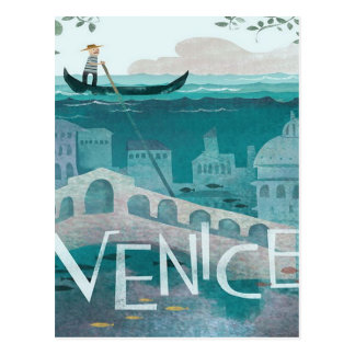 venice Italy Gondola travel vacation retro post Postcard
