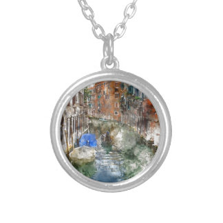 Venice Italy Gondolas and Colorful Buildings Silver Plated Necklace