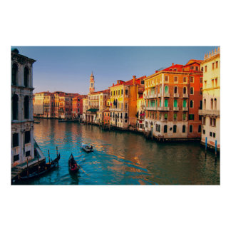 Venice, Italy. Gondolas on Grand Canal at gold sun Poster