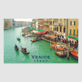 Venice, Italy - Gondolas On Grand Canal Rectangular Sticker