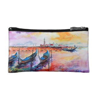 Venice Italy Gondolas Watercolor Painting Makeup Bag