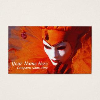 Venice, Italy (IT) - Orange Carnival Costume Business Card