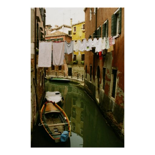Venice Italy Laundry Canal Poster