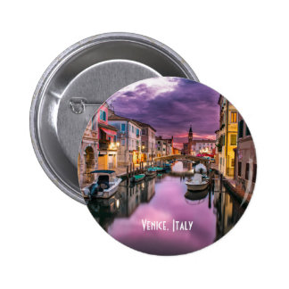 Venice, Italy Scenic Canal & Venetian Architecture 6 Cm Round Badge