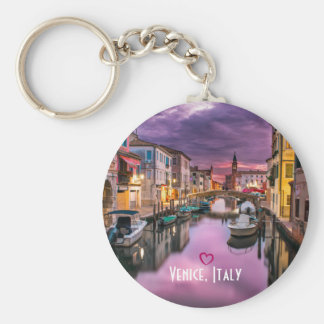 Venice, Italy Scenic Canal & Venetian Architecture Basic Round Button Key Ring
