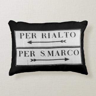 Venice, Italy Sign for Rialto & San Marco - Cushio Decorative Cushion