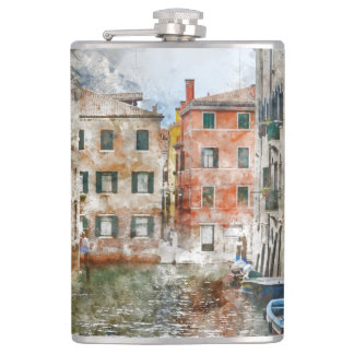 Venice Italy Watercolor Flask